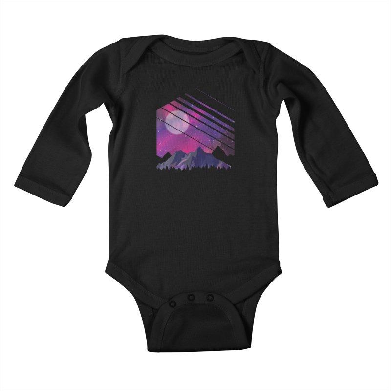 Mountain Galaxy Kids Baby Longsleeve Bodysuit by Toxic Onion