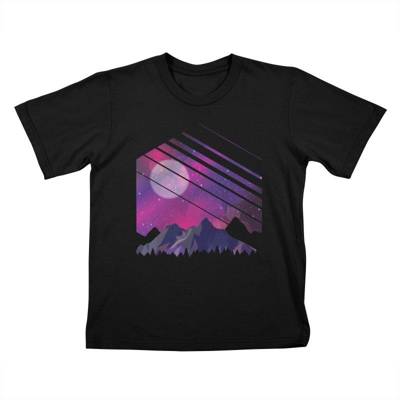 Mountain Galaxy Kids T-Shirt by Toxic Onion