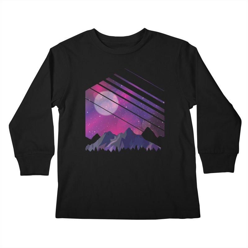 Mountain Galaxy Kids Longsleeve T-Shirt by Toxic Onion