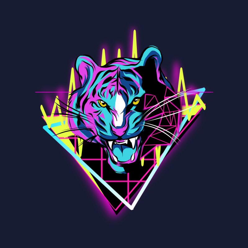 Neon Tiger Men's T-Shirt by Toxic Onion