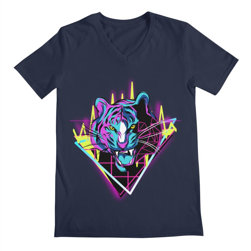 Neon Tiger Men's V-Neck by Toxic Onion