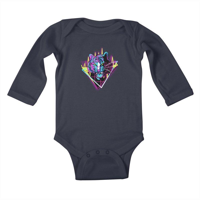 Neon Tiger Kids Baby Longsleeve Bodysuit by Toxic Onion