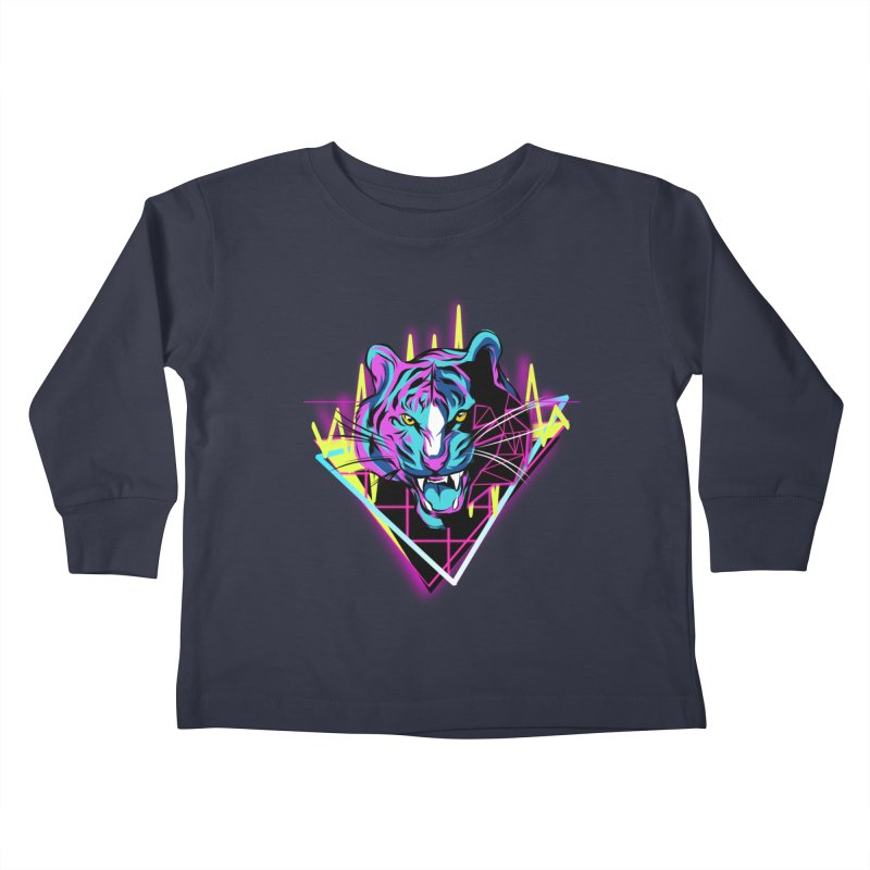 Neon Tiger Kids Toddler Longsleeve T-Shirt by Toxic Onion