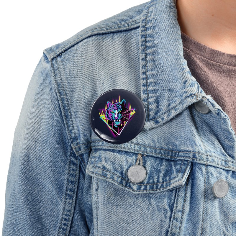 Neon Tiger Accessories Button by Toxic Onion