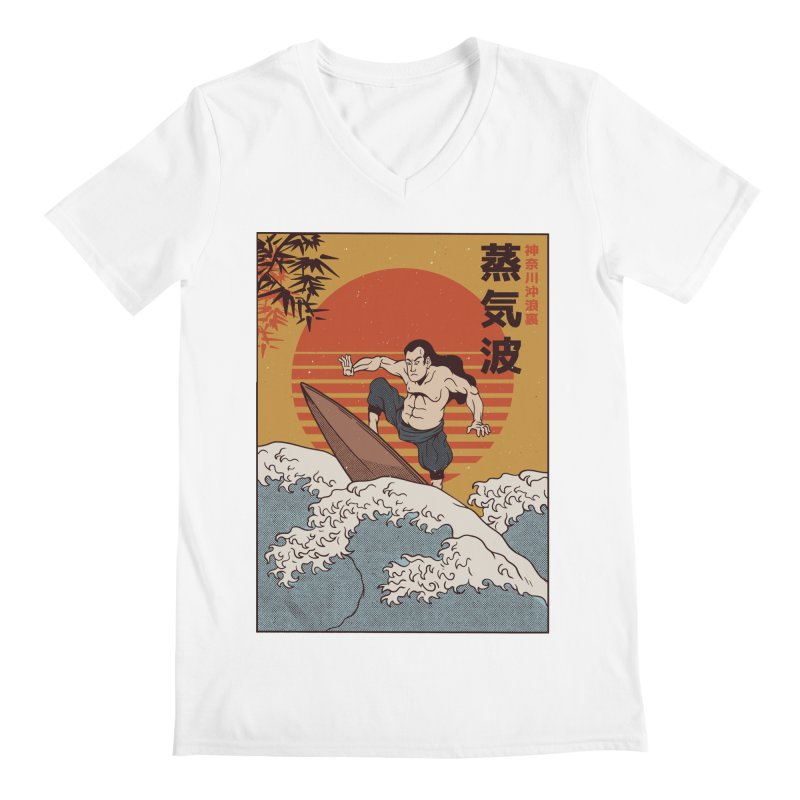 Surfing Samurai Men's V-Neck by Toxic Onion