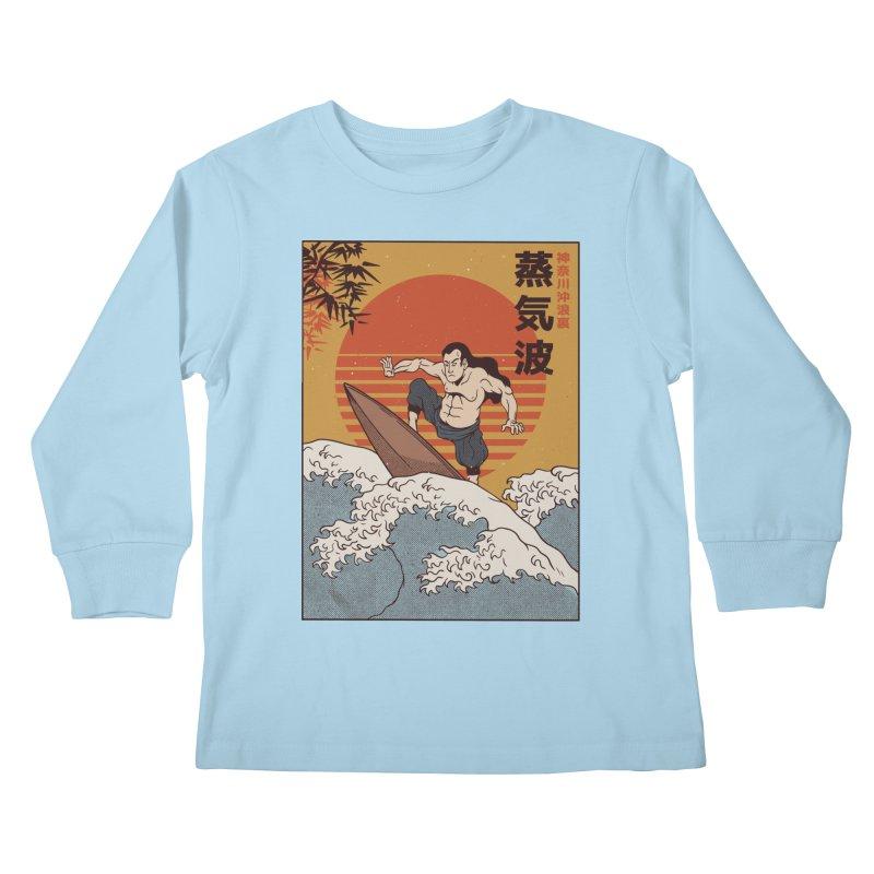 Surfing Samurai Kids Longsleeve T-Shirt by Toxic Onion
