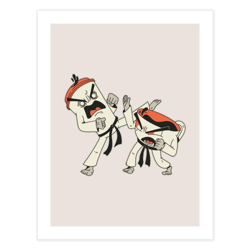 Coffee Vs Tea Karate Fight Home Fine Art Print by Toxic Onion