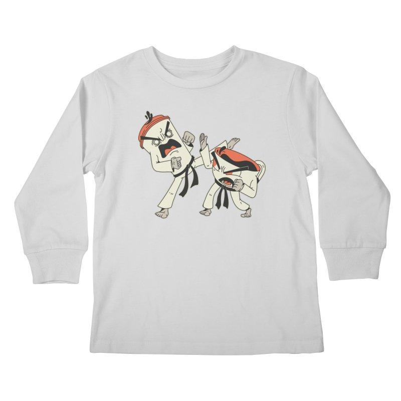 Coffee Vs Tea Karate Fight Kids Longsleeve T-Shirt by Toxic Onion