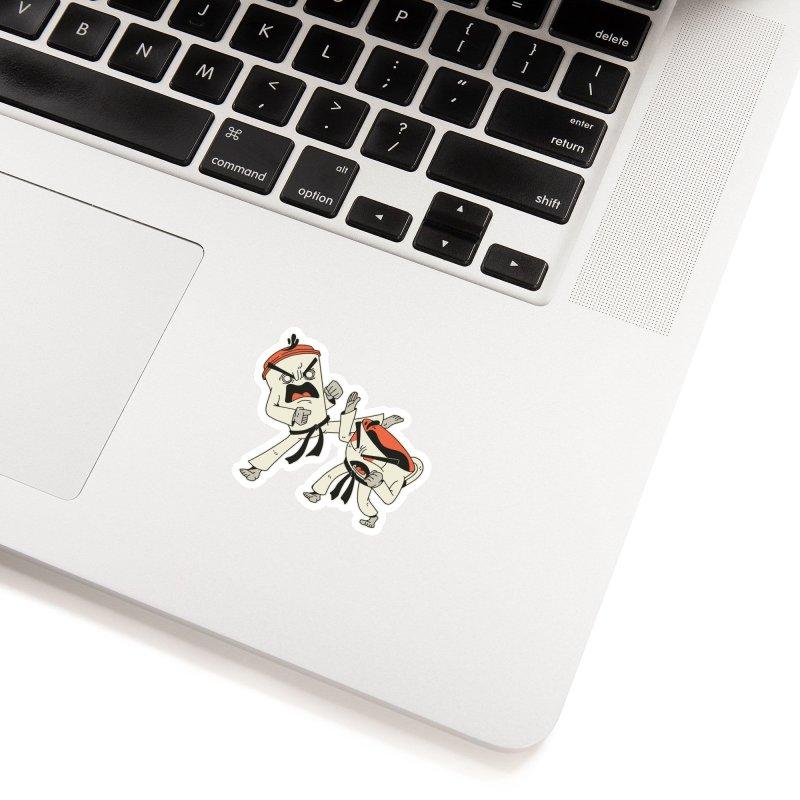 Coffee Vs Tea Karate Fight Accessories Sticker by Toxic Onion