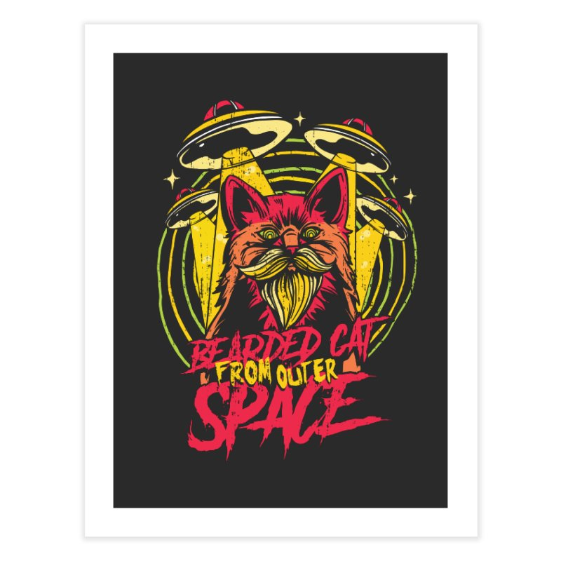 Bearded Cat From Outer Space Home Fine Art Print by Toxic Onion - A Popular Ventures Company