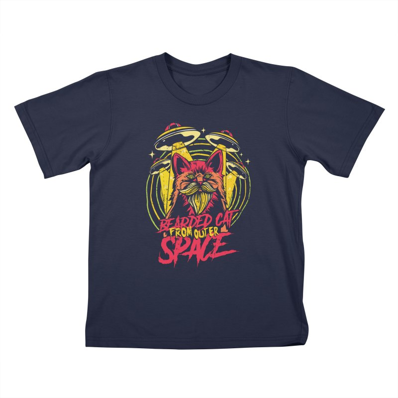 Bearded Cat From Outer Space Kids T-Shirt by Toxic Onion - A Popular Ventures Company