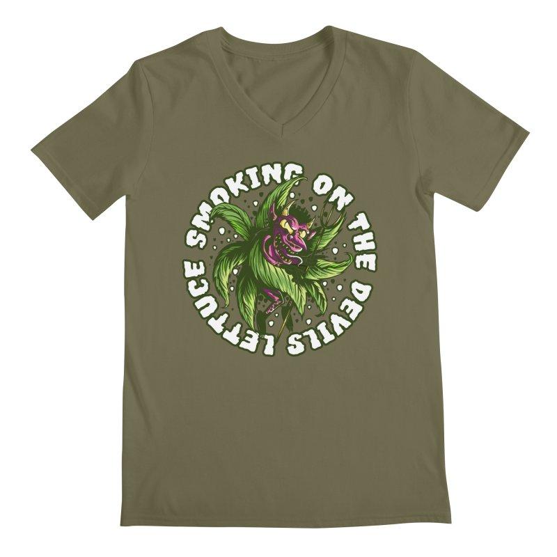 Smoking On The Devil's Lettuce Men's V-Neck by Toxic Onion - A Popular Ventures Company