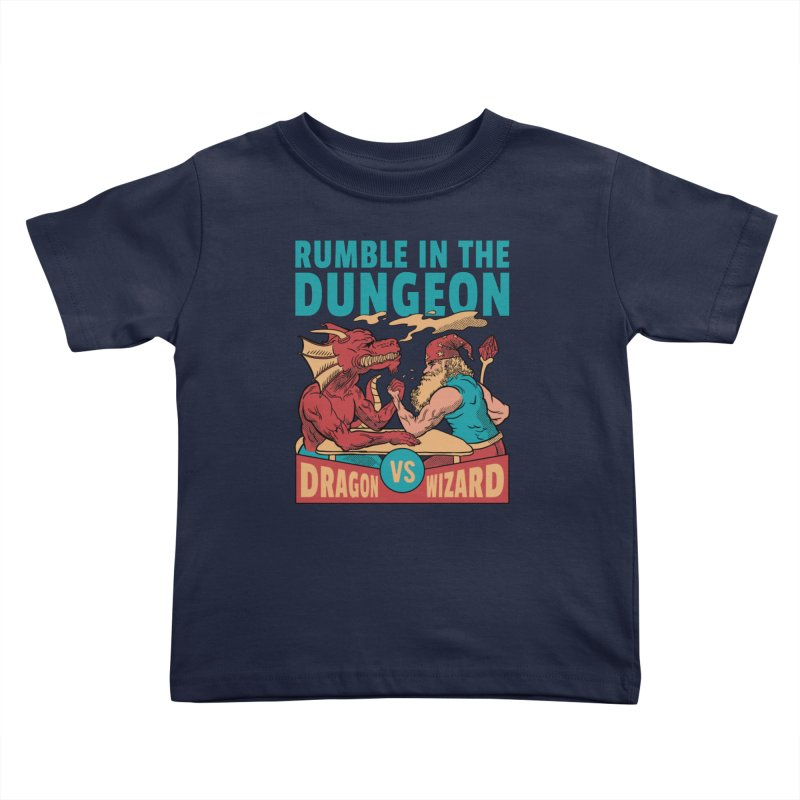 Dragon Arm Wrestling Wizard Kids Toddler T-Shirt by Toxic Onion - Weird and Funny Stuff