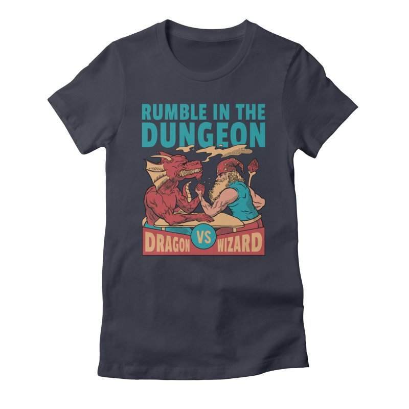 Dragon Arm Wrestling Wizard Women's T-Shirt by Toxic Onion - Weird and Funny Stuff