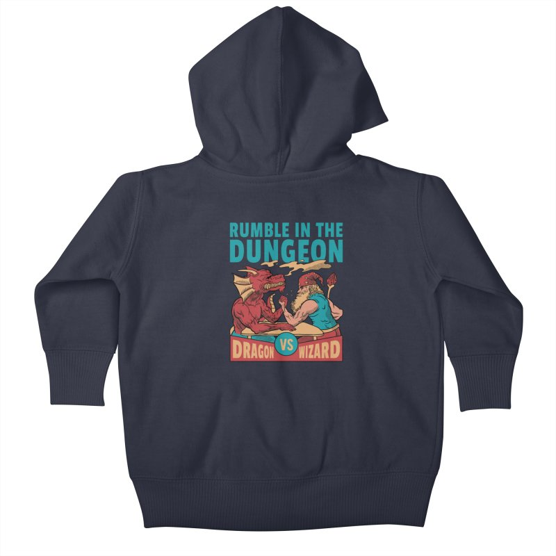 Dragon Arm Wrestling Wizard Kids Baby Zip-Up Hoody by Toxic Onion - Weird and Funny Stuff