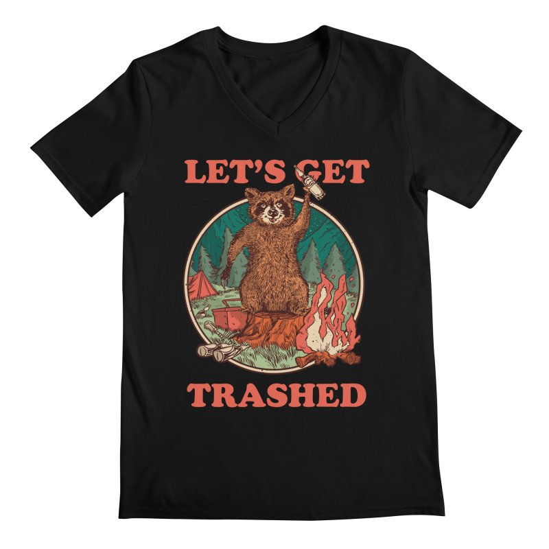Let's Get Trashed Men's V-Neck by Toxic Onion - Weird and Funny Stuff