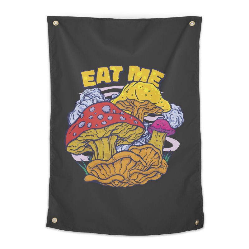 Eat Me Psychedelic Mushrooms Home Decor Tapestry by Toxic Onion - Weird and Funny Stuff