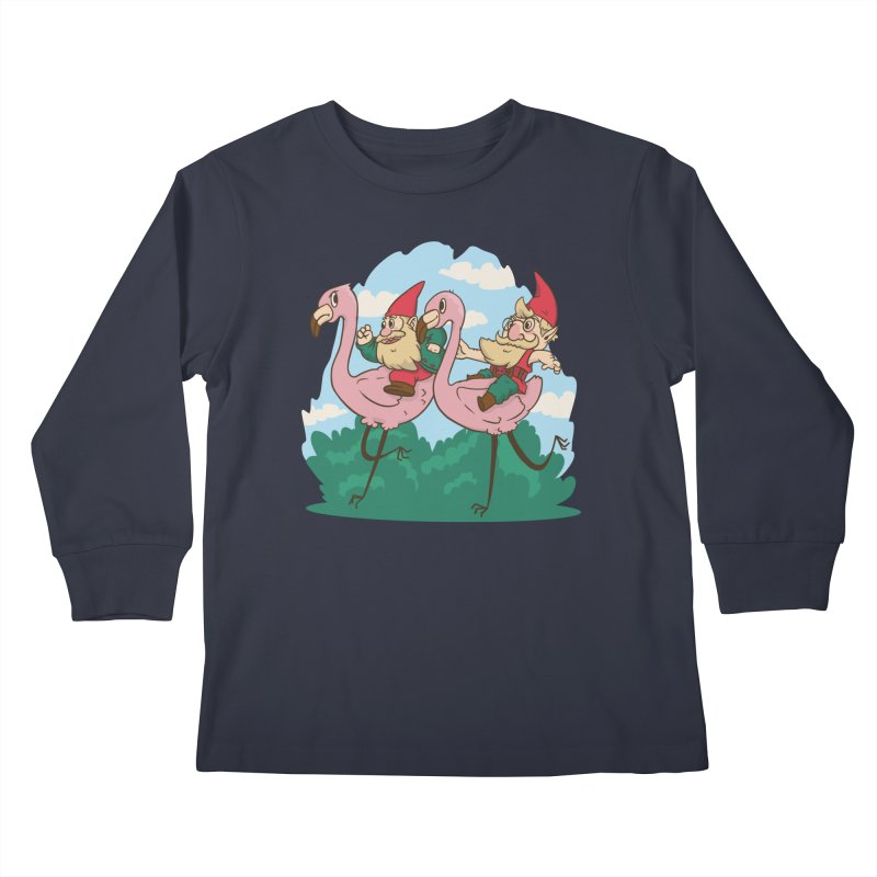 Garden Gnomes Racing Flamingos Kids Longsleeve T-Shirt by Toxic Onion - Weird and Funny Stuff