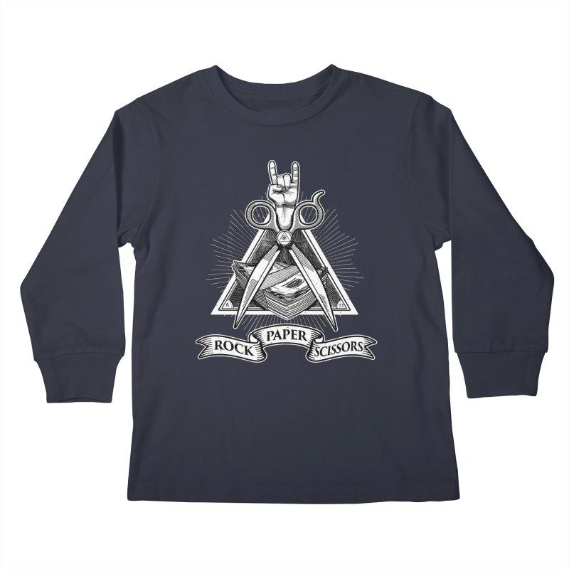 Rock Paper Scissors Kids Longsleeve T-Shirt by ToySkull