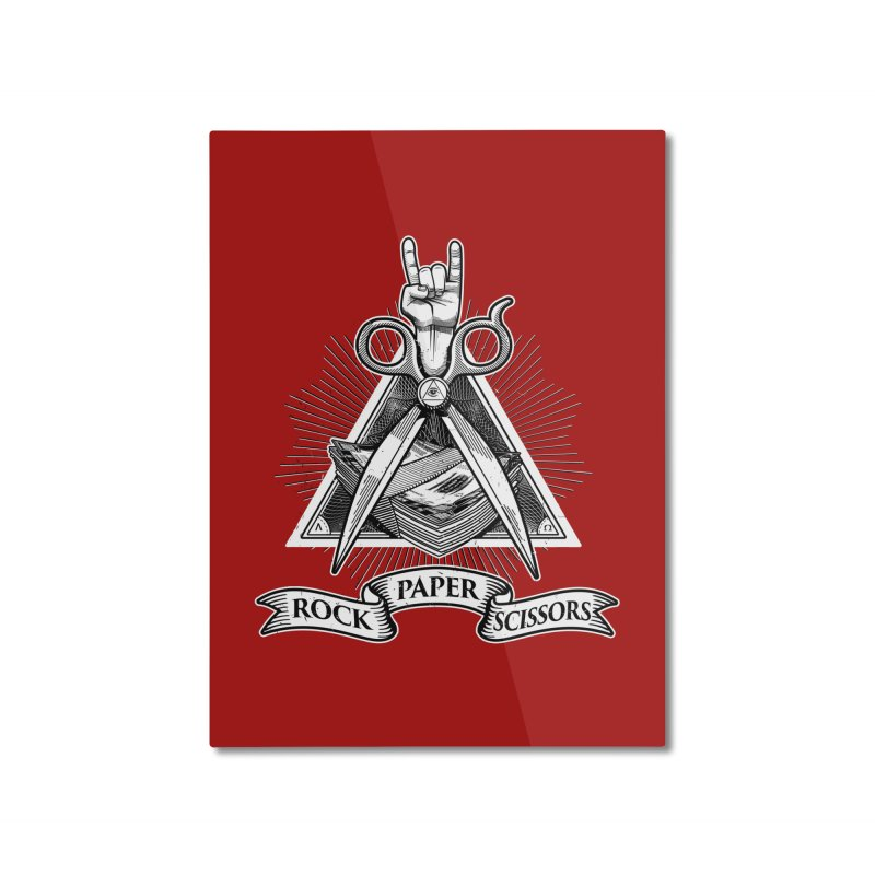 Rock Paper Scissors Home Mounted Aluminum Print by ToySkull