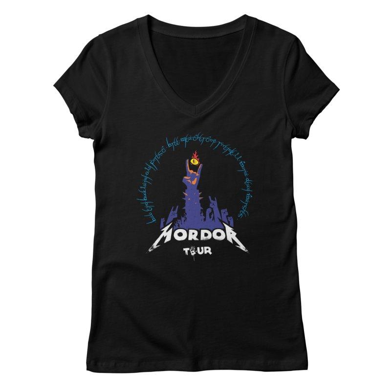 THE ROAD TO MORDOR Women's V-Neck by ToySkull