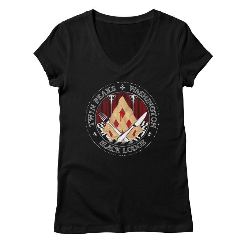 Black Lodge Women's V-Neck by ToySkull