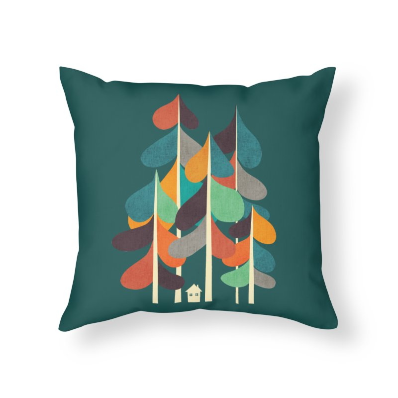 Little house in the whimsical forest Home Throw Pillow by Trabu - Graphic Art Shop