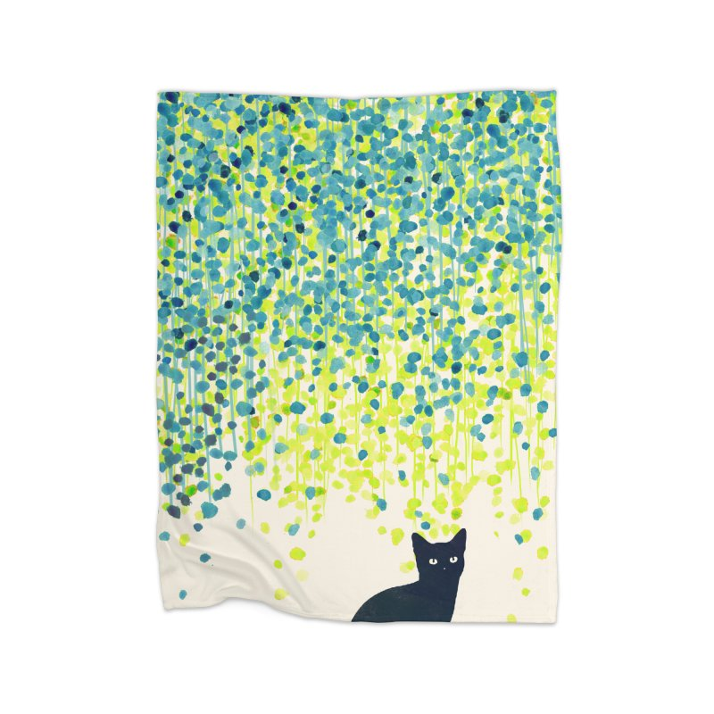 Cat under willow tree Home Blanket by Trabu - Graphic Art Shop