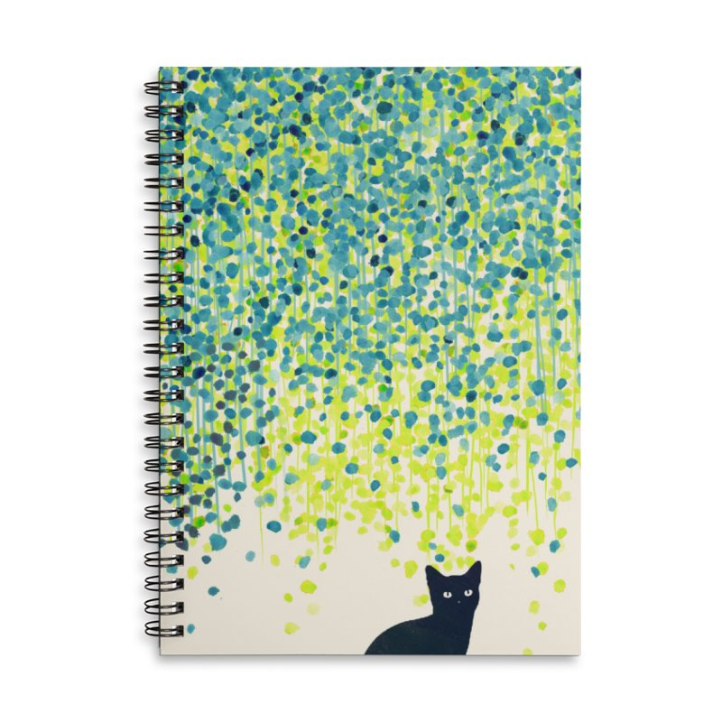 Cat under willow tree Accessories Notebook by Trabu - Graphic Art Shop