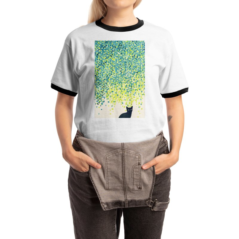 Cat under willow tree Women's T-Shirt by Trabu - Graphic Art Shop