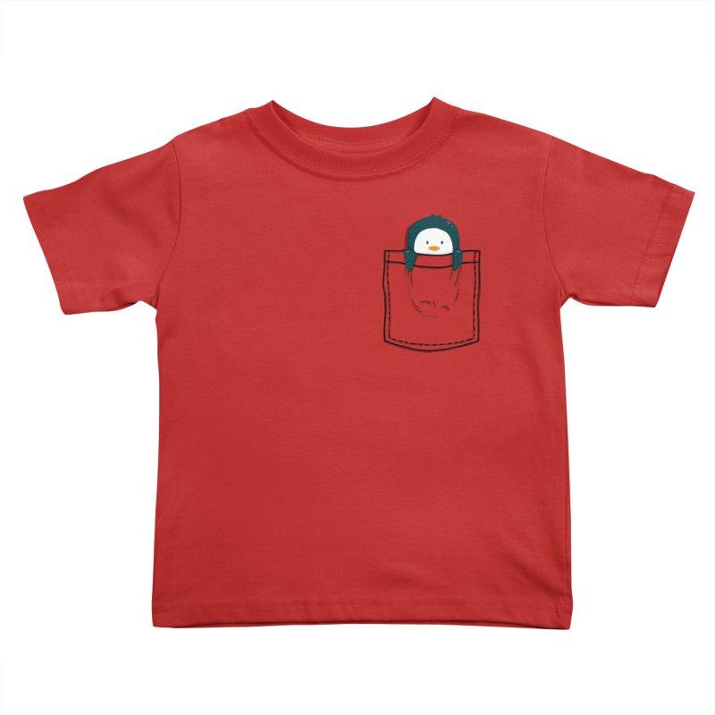 Pocket pet penguin Kids Toddler T-Shirt by Trabu - Graphic Art Shop