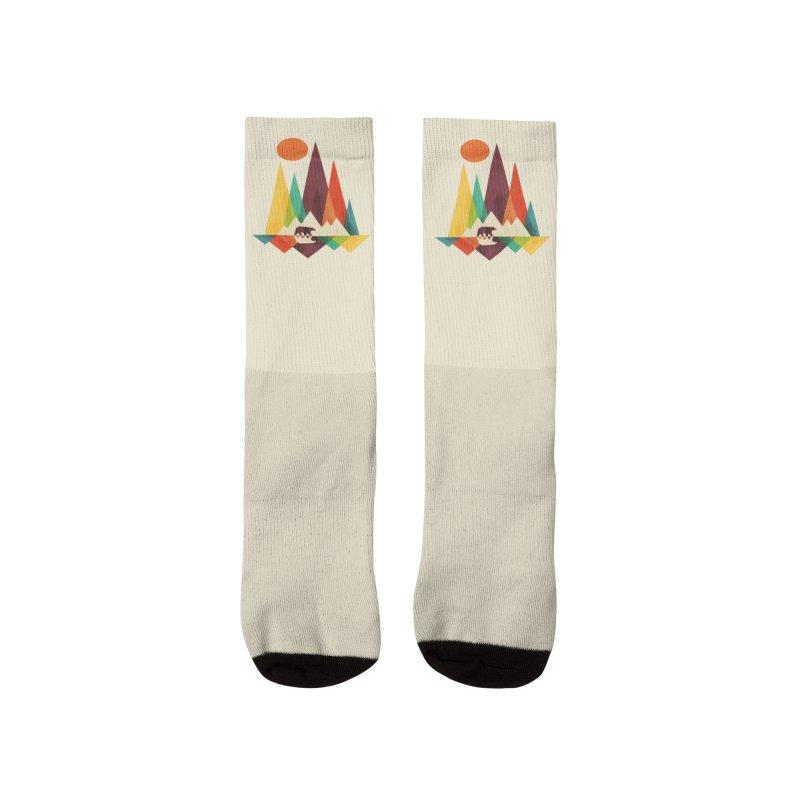 Bear and mountains Men's Socks by Trabu - Graphic Art Shop