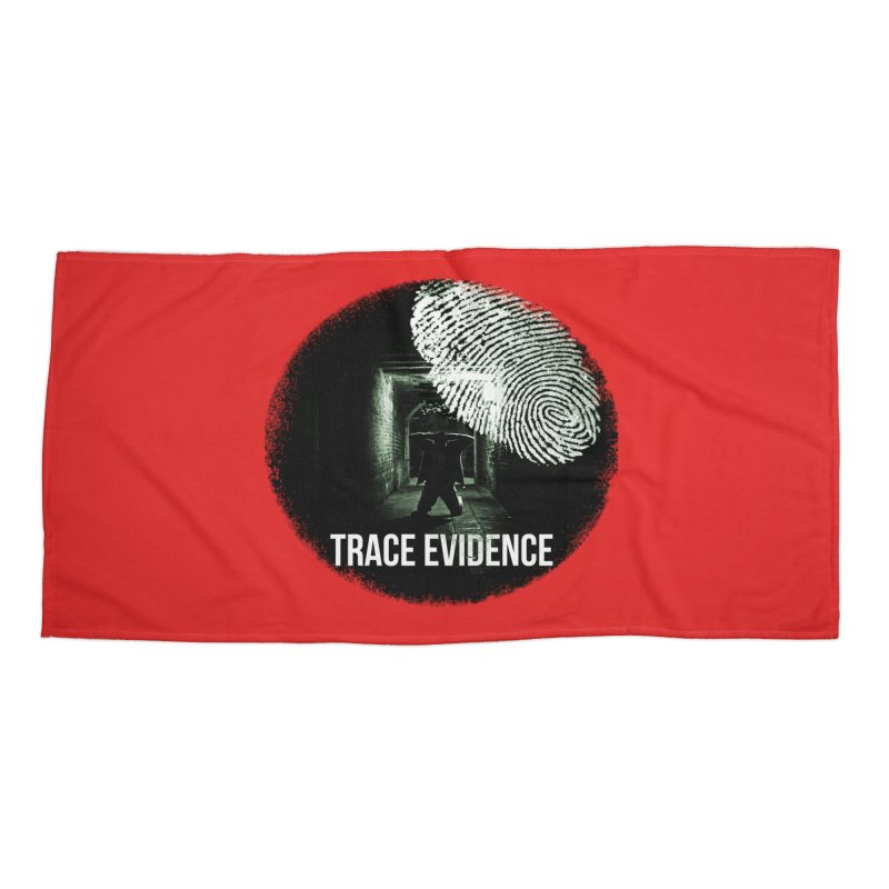 Stressed Logo Accessories Beach Towel by Trace Evidence - A True Crime Podcast