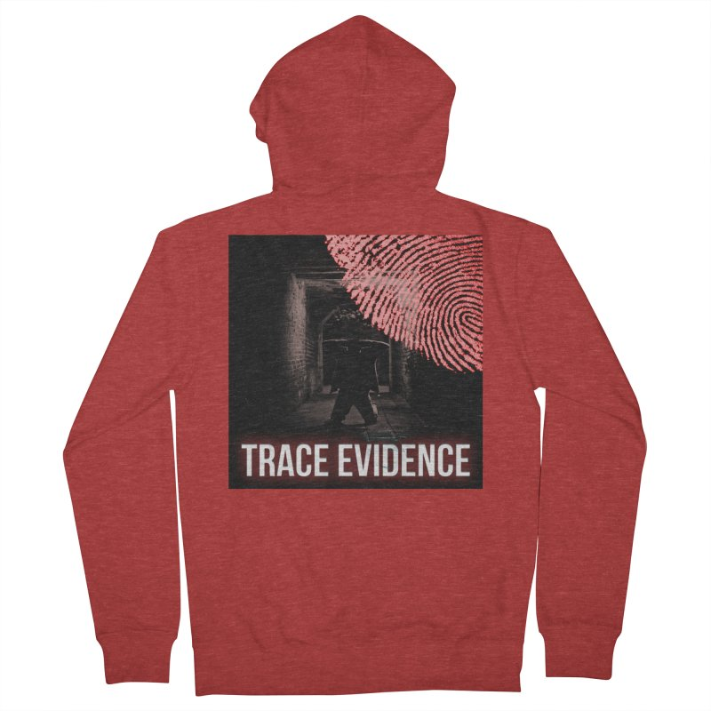Red Logo Women's French Terry Zip-Up Hoody by Trace Evidence - A True Crime Podcast