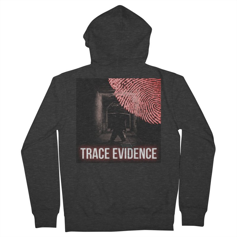 Red Logo Men's French Terry Zip-Up Hoody by Trace Evidence - A True Crime Podcast