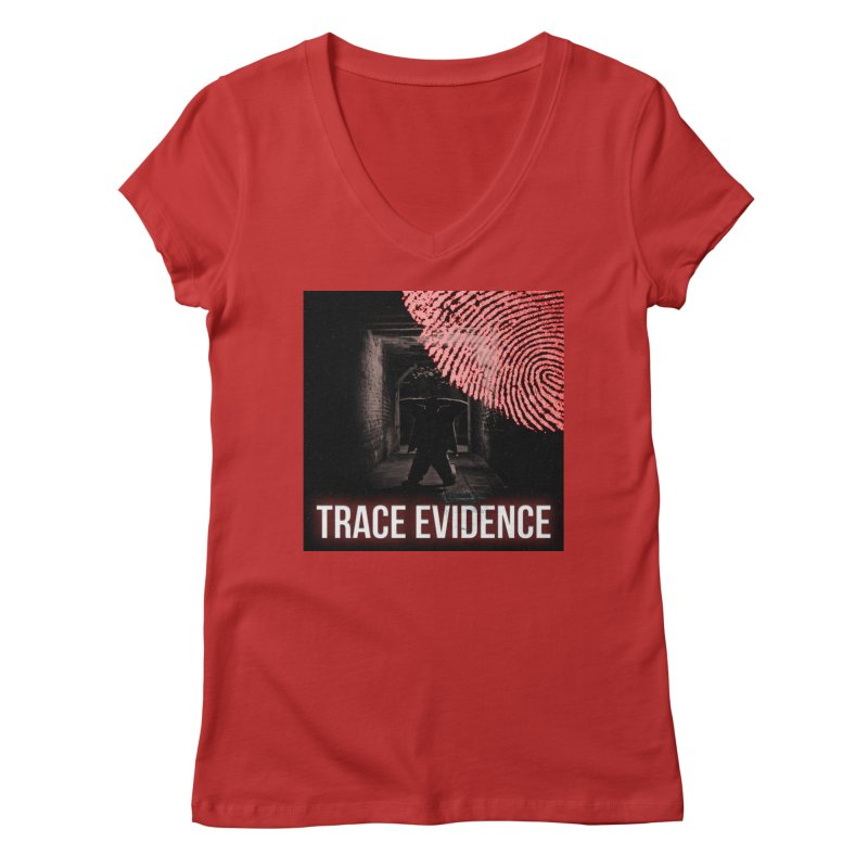 Red Logo Women's Regular V-Neck by Trace Evidence - A True Crime Podcast