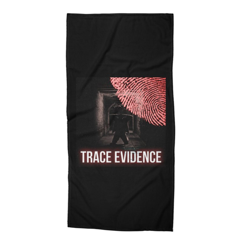 Red Logo Accessories Beach Towel by Trace Evidence - A True Crime Podcast