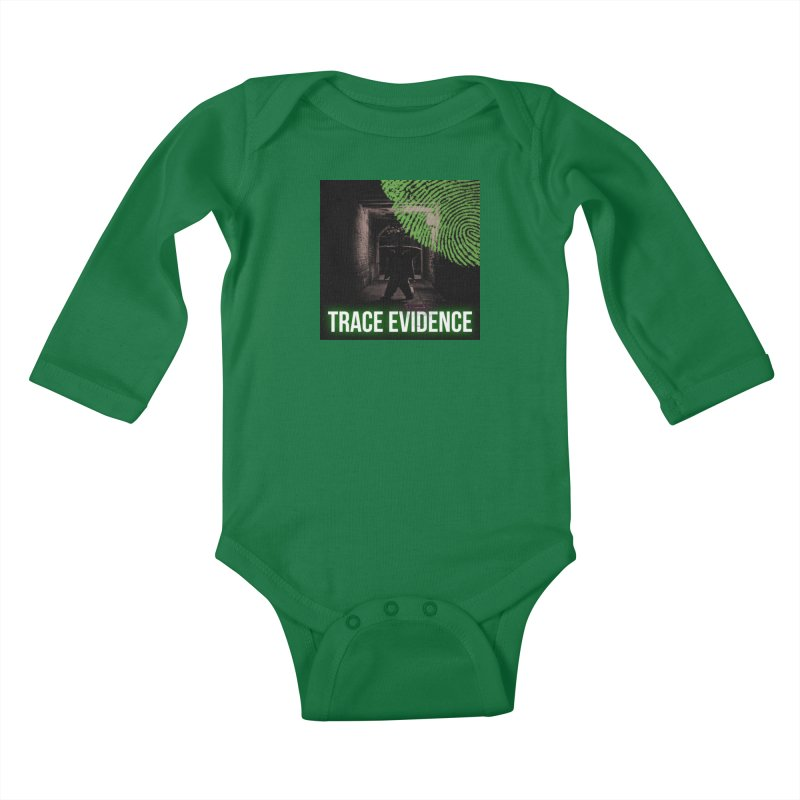 Green Logo Kids Baby Longsleeve Bodysuit by Trace Evidence - A True Crime Podcast