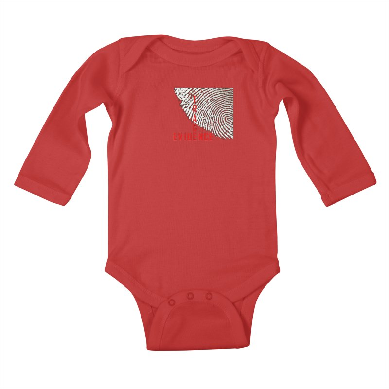 Text Logo - Red Kids Baby Longsleeve Bodysuit by Trace Evidence - A True Crime Podcast