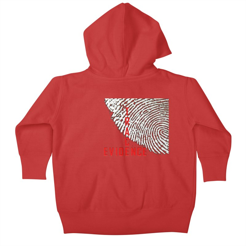 Text Logo - Red Kids Baby Zip-Up Hoody by Trace Evidence - A True Crime Podcast