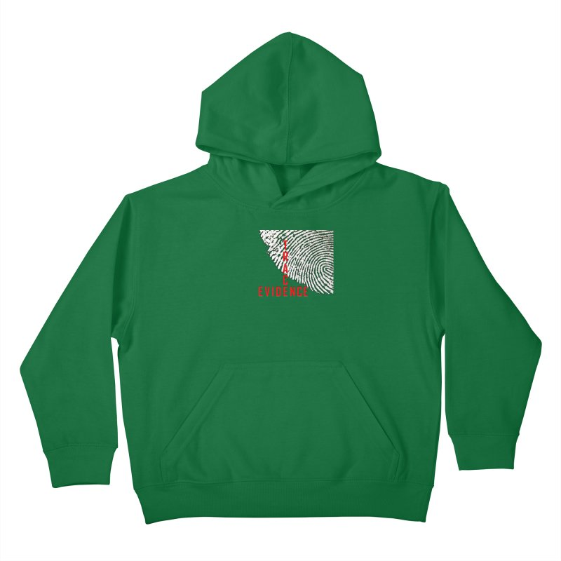 Text Logo - Red Kids Pullover Hoody by Trace Evidence - A True Crime Podcast