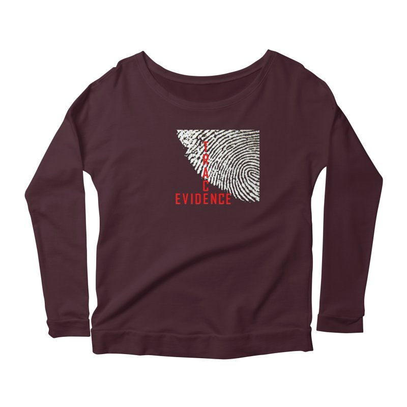 Text Logo - Red Women's Scoop Neck Longsleeve T-Shirt by Trace Evidence - A True Crime Podcast