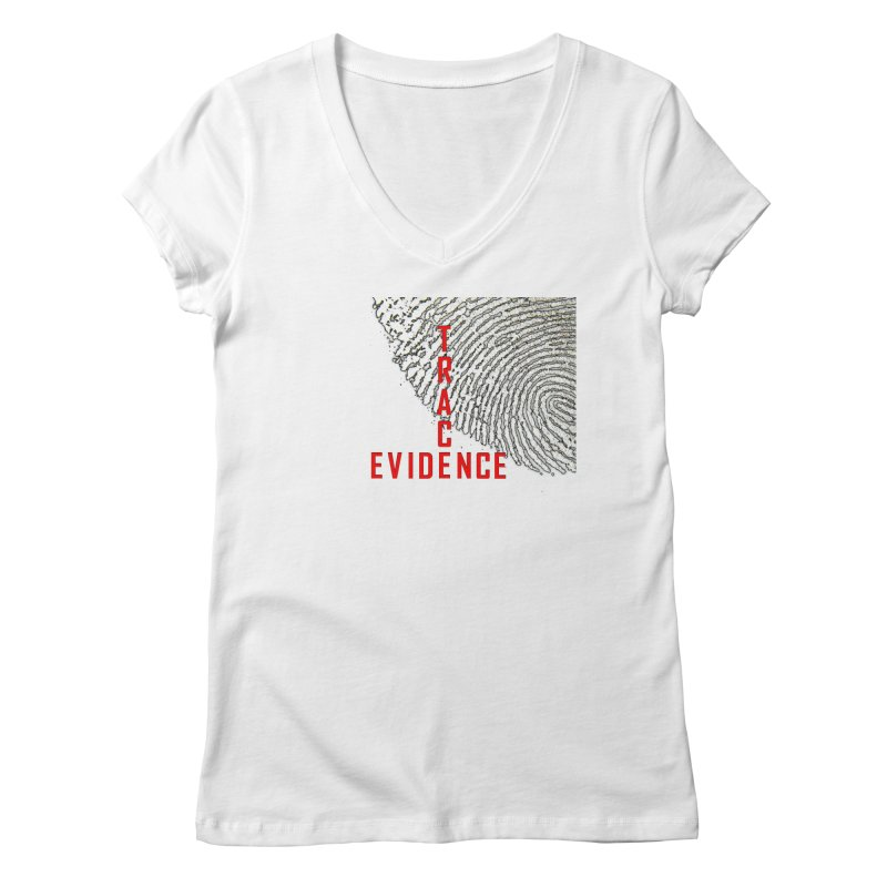 Text Logo - Red Women's Regular V-Neck by Trace Evidence - A True Crime Podcast