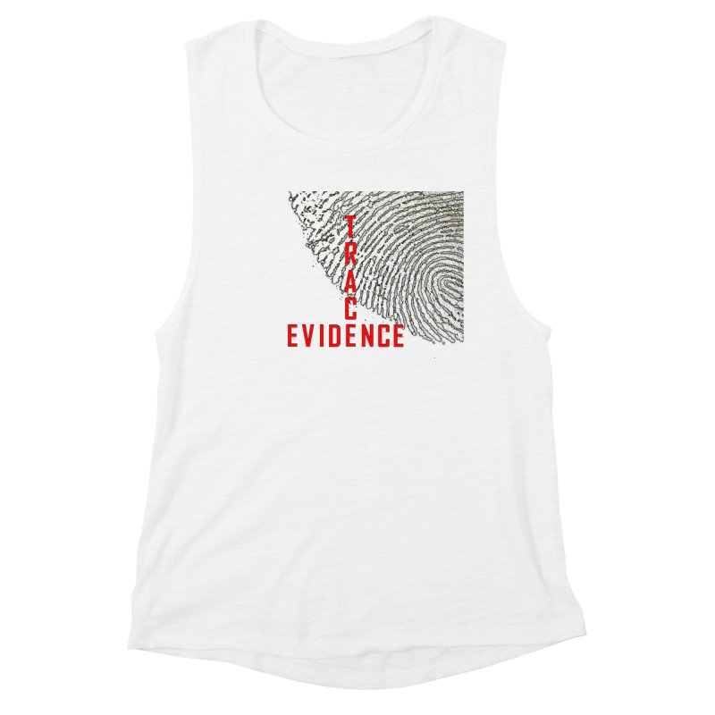 Text Logo - Red Women's Muscle Tank by Trace Evidence - A True Crime Podcast