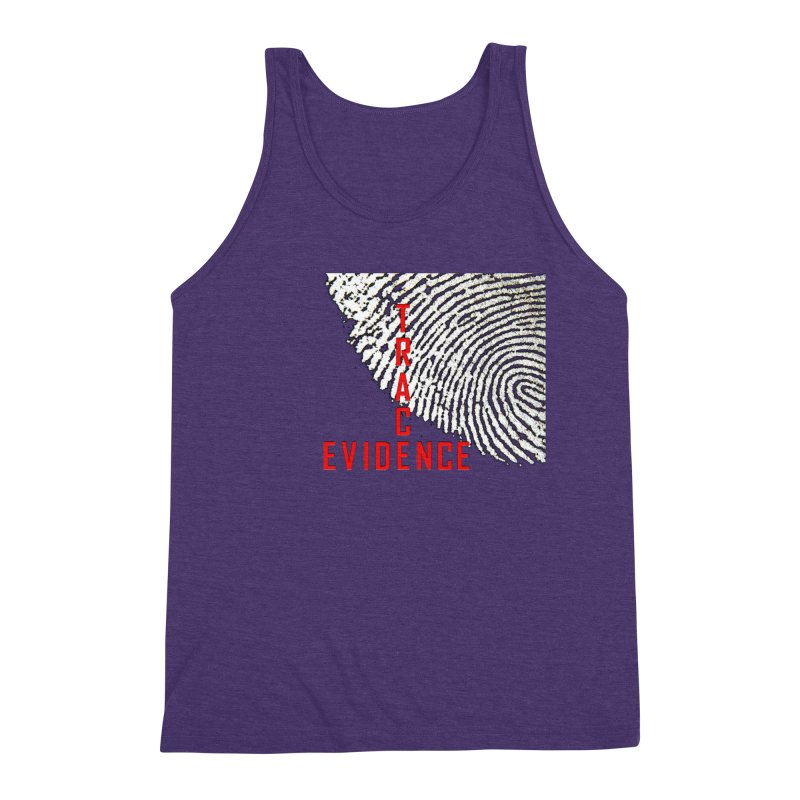 Text Logo - Red Men's Triblend Tank by Trace Evidence - A True Crime Podcast