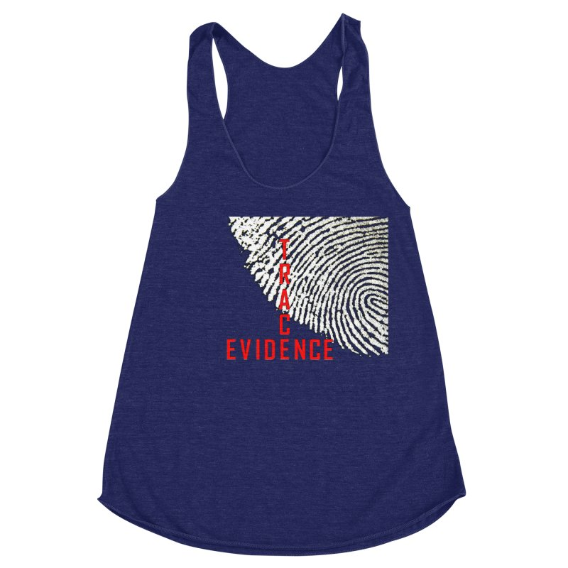 Text Logo - Red Women's Racerback Triblend Tank by Trace Evidence - A True Crime Podcast