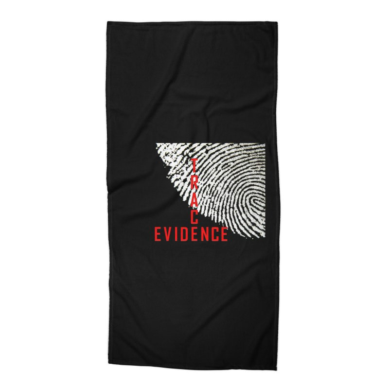 Text Logo - Red Accessories Beach Towel by Trace Evidence - A True Crime Podcast