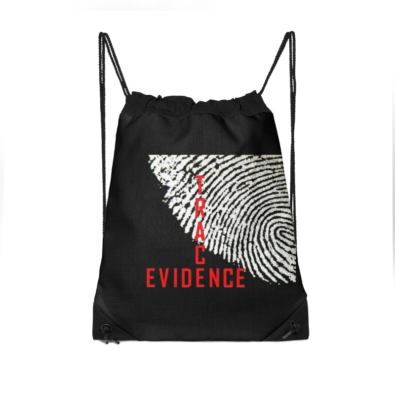 Text Logo - Red Accessories Drawstring Bag Bag by Trace Evidence - A True Crime Podcast