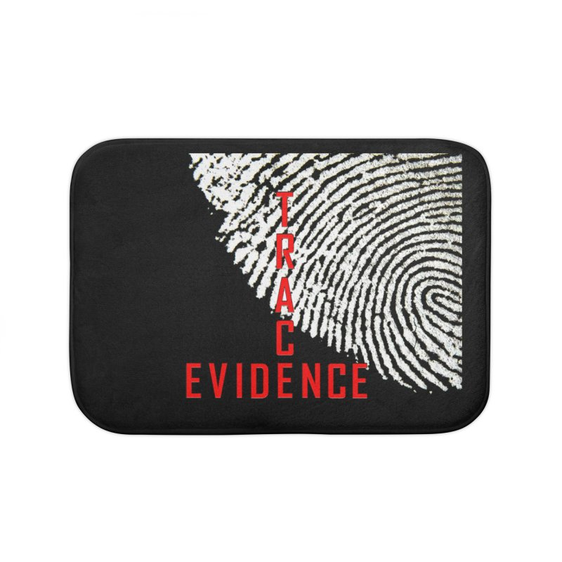 Text Logo - Red Home Bath Mat by Trace Evidence - A True Crime Podcast