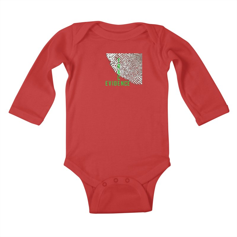 Text Logo - Green Kids Baby Longsleeve Bodysuit by Trace Evidence - A True Crime Podcast